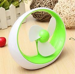 Mini Portable Batteries Powered Soft Fan Blade Desktop Stylish Cooling Fan (Green)