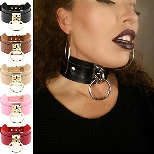 LZHA Unisex Fashion Womens Man Punk Gothic Wide PU Leather O Ring Collar Choker Necklace