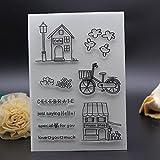 11x 16cm CLEAR STAMP für Scrapbook Karte Album House Deko Silikon Stempel Fahrrad Feiern Besondere für Sie transparent Stempel