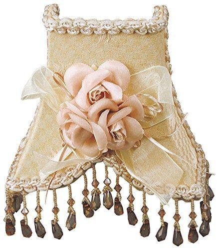 Royal Designs Beaded 2-Tone Beige / Cream Victorian Nightlight w/ Designer Fabric & Trim, w/ Bow & Floral Rosettes (NL-103) by Royal Designs, Inc -