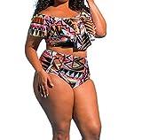 Bikini-Sets,Honestyi Neueste Modell Damen Bikini-Sets Zwei Stück Übergröße Bademode Frau Gedruckt Baden Rüsche BadeanzugStrandkleidung Vintage Badeanzüge große größen L-XXXXXL (XXL, Multicolor)
