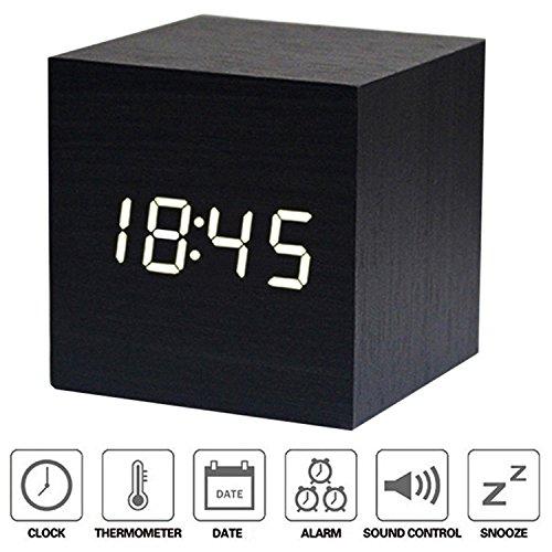 Wecker Digital Holz LED Uhr XAGOO LED Alarm Uhr, Hölzerne Wecker Cube Wecker, Mini-LED-Digital-Zeit Datum Temperaturanzeige - Stimme und Berührung aktiviert USB / AAA (Schwarz)