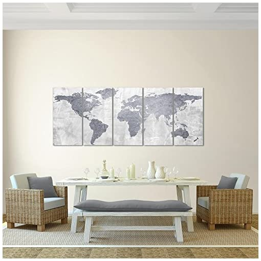 Quadro Mappa del mondo 200 x 80 cm – XXL Immagini Murale Stampa su Tela Decorazione da Parete Pronte per l'applicazione – 104355c