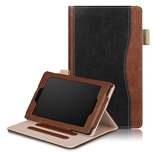 All-New Amazon Fire 7 Tablet (5th Generation 2015 & 7th Generation 2017) Case,All-New Amazon Fire 7 Tablet (5th Generation 2015 & 7th Generation 2017) Case,Cover for Premium PU Leather Wallet Snap Case Cover for Cover for Flip Cover for All-New Amazon Fire 7 Tablet (5th Generation 2015 & 7th Generation 2017) Black + Brown