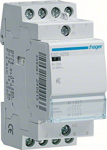 Price comparison product image Hager ESC428S – CONTACTOR Quiet, 25 A, 3 Na + 1NC, 230 V