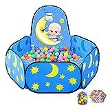 SPIELPLATZ Faltbarer Babylaufstall Mit Bällen Und Basketballkorb, Safety Toddlers Playard-Matratze, Blauer Kinderzaun Für