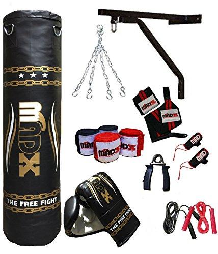 Madx - set per la boxe composto da 13 pezzi con sacco da boxe pieno, guanti, catena, staffa di montaggio, lunghezza: 152 cm