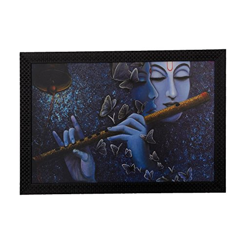 eCraftIndia Radha Krishna Love Moments Satin Matt Texture Framed Synthetic Wood UV Art Painting (50.8 cm x 1.3 cm x 35.6 cm)