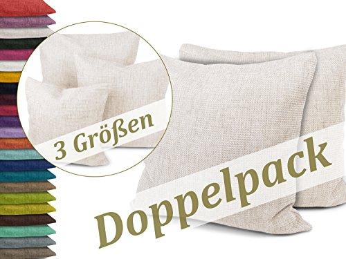 Kissenhüllen in Struktur-Optik - erhältlich in 23 modernen Farben und 3 verschiedenen Größen, Doppelpack Kissenhüllen 50 x 50 cm, creme meliert