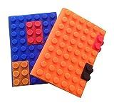 A6 Notizbuch Tagebuch (2 pak) | Bunte Baustein - Silikon - Abdeckung | Gebrauch für Büro, Haus und Schule. 100 Seiten gezeichnet