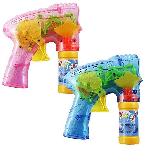 COM-FOUR® 2x LED Seifenblasen Pistole, Bubble-Gun z.B. als Mitgebsel bei einem Kindergeburtstag