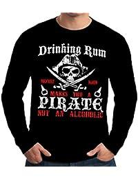 Velocitee Mens Long Sleeve T-Shirt Drinking Rum Pirate W16527
