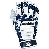 Franklin Sports Adult MLB CFX Pro Digi Series Batting Gloves, Pearl/Navy, X-Large