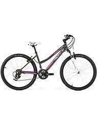 Agece Sierra-26D - Bicicleta de montaña para mujer, color antracita / rosa, talla S
