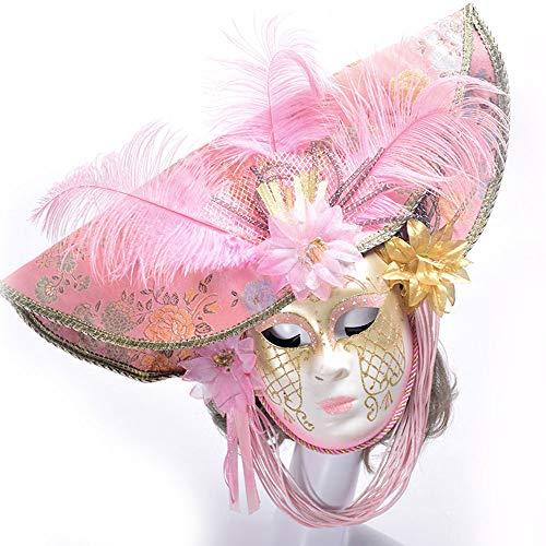 Elegante Halloween-Party-Maske Hochwertige Rosa Handbemalte Feine Federn Mit Blumen Cosplay Kostüm Bandana Glamour Weibliche Maske