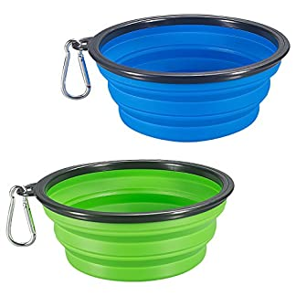 COMSUN Collapsible Dog Bowl, Food Grade Silicone BPA Free, Foldable Expandable Cup Dish for Pet Cat Food Water Feeding Portable Travel Bowl + Free Carabiner 51jGGp7n5jL