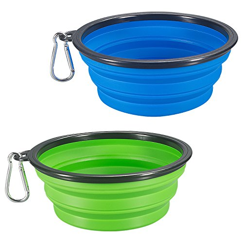 COMSUN 2-pack Extra Large Size Collapsible Dog Bowl, Food Grade Silicone BPA Free, Foldable Expandable Cup Dish for Pet Cat Food Water Feeding Portable Travel Bowl + Free Carabiner, Green + Blue