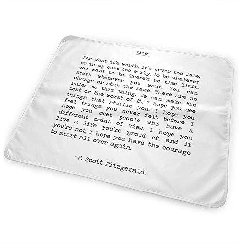 Changing Mat,Life Quote F Scott Fitzgerald Alfombrillas Cómodas Para El Cambio Del Bebé Para El Automóvil Todller Crib 65cmx80cm