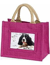 Cocker Spaniel in Snow 'Yours Forever' Little Girls Small Pink Shopping Bag Chri