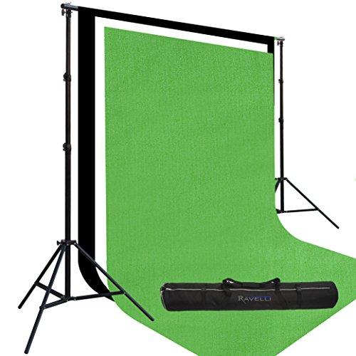 Ravelli Prism. Tre Fondali da Studio da m 2,4 x m 4: Uno Bianco, Uno Nero e Uno Verde da Chroma Key...