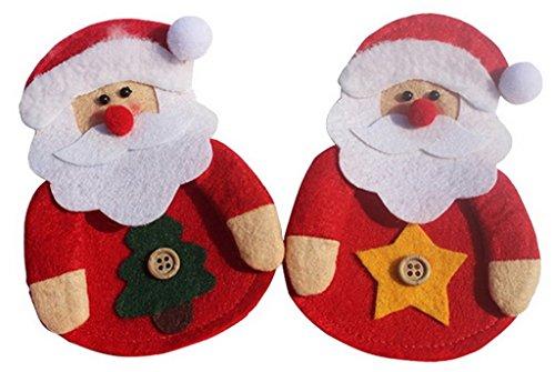 Eozy-insieme di 2 tasca porta posate accessori natale forma di babbo natale rosso misura 12*9cm