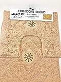 NOSTRO BAGNO Tappeto Set 3 tappeti Antiscivolo Spugna 2 Piccoli lavandino 50 x 40 cm + 1 Grande Doccia 50 x 80 cm Decoro Fiore 6 Colori Disponibili Grigio Giallo Celeste Marrone Arancio Viola Verde