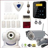 Alarma de casa inalámbrica A9GSM con sirena interior y exterior + cámara HD Wifi Exterior + cámara IP WIFI rotativa–Casa de 3 o 4 habitaciones