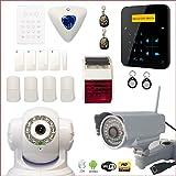 Alarme maison sans fil A9 GSM avec sirène intérieure et extérieure + caméra HD wifi extérieure + caméra IP wifi rotative - Maison T4/T5