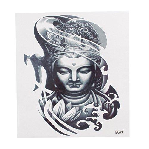 Madonna Virgen María estatua Imprimir tatuaje temporal de color gris