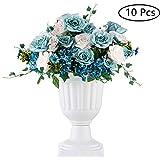 10 Stück Klassischer Blumenspindel, Dekorative Urne Kunststoff mit Einer Höhe von 43cm, Hoher Kunststoff Pflanzensockel, Blumentopf im Vintage Stil, Hausgarten Veranda Türdeck Balkondekoration, Weiß