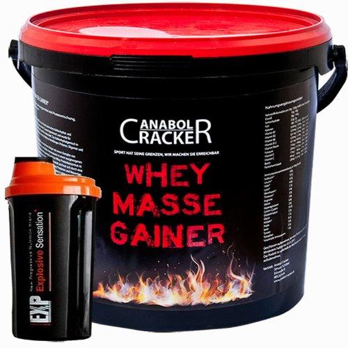 Whey-Masse-Gainer-Eiweisspulver-3000g-Eimer-Erdbeere-Toffi-oder-Vanille-Proteinshaker-Sonderangebot-Anabol-Cracker