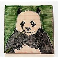 Il Panda- Mattonella di ceramica decorata a mano, dimensioni cm 10x10x0,8 cm .Made in Italy toscana,Lucca.certificata.