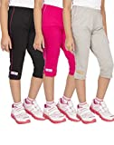 #4: OCEAN RACE Girls Stylish attarctive colors Cotton Capris(3/4 th Pant)-Pack of 3
