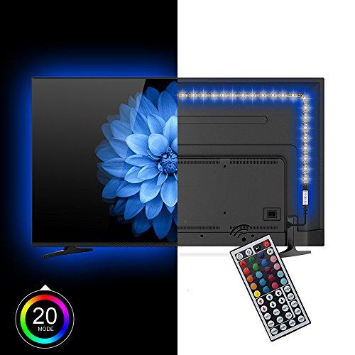 Lononvie 200CM 6.56ft 5V USB angetriebene multi Farbe RGB TV LED Streifen, TV Monitor Hintergrundbeleuchtung Bias Beleuchtung Kit, mit 44 Tasten Fernbedienung (Kontrast-taste)