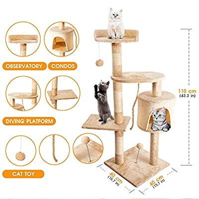 Masthome Cat Play Towers and Trees for Large Cats 170 CM Cat Tree with Scratch Posts Multi-level Cat Activity Centres-Send 1pc Cat Wand by Masthome