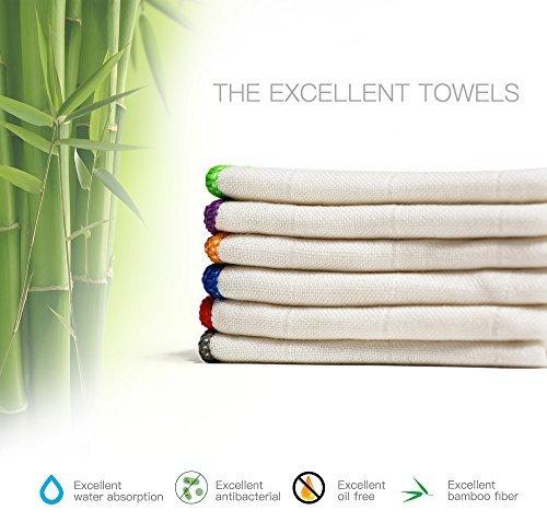 Antimikrobielle Waschen (BONDRE 100% natürliches Bambus Fasern, Waschen Tuch reinigen, Antimikrobielle, Bambus, weiß, 12inchX12inch)