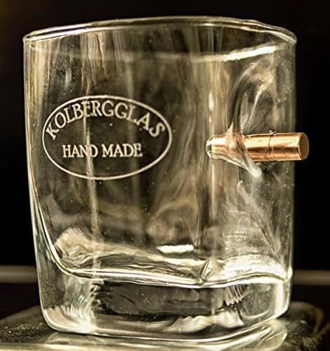 KolbergGlas HandMade WhiskyGlas mit echtem Geschoß cal.308 und WunschGravur Option. Originelle Geschenkidee