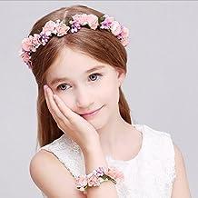 Juego de corona y pulsera de guirnalda de flores y hojas Aukmla Bohemia para novias y