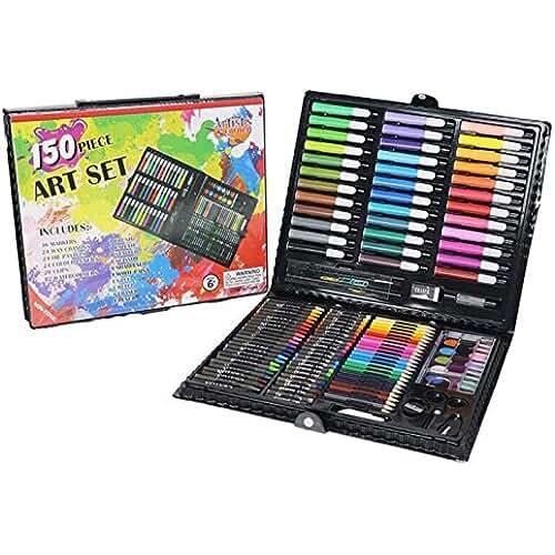 mas dibujos kawaii Aidle 150 Art Set Conjunto de Arte, Lapices de Colores, Crayones, Ceras Oil Pastel, Rotuladores, Acuarelas - Artistas, adultos y niños la elección perfecta