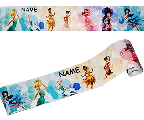 Wandbordüre - selbstklebend - ' Disney Fairies / Fairy - Tinkerbell ' - 5 m - incl. Name - Wandsticker / Wandtattoo - Bordüre Aufkleber...
