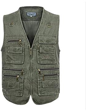 TT&BEIIXN Abrigo de talla grande primavera / otoño / chaleco multi-bolsillo para exteriores / chaleco de cámara...