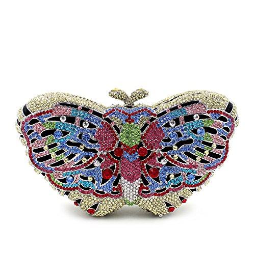 Donna di strass preferiti farfalla colorata Borse sera Wallet borsetta H
