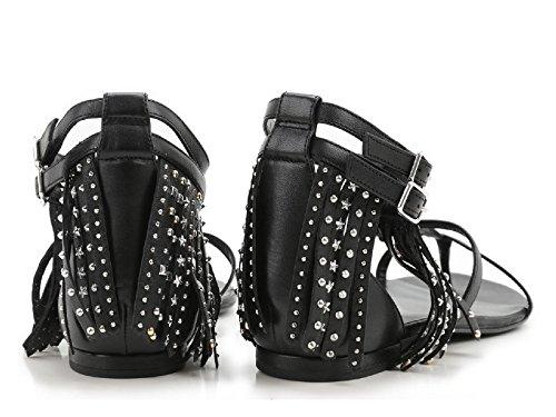 Sandales plates Saint Laurent frange en cuir noir - Code modèle: 416400 B3400 1000 Noir