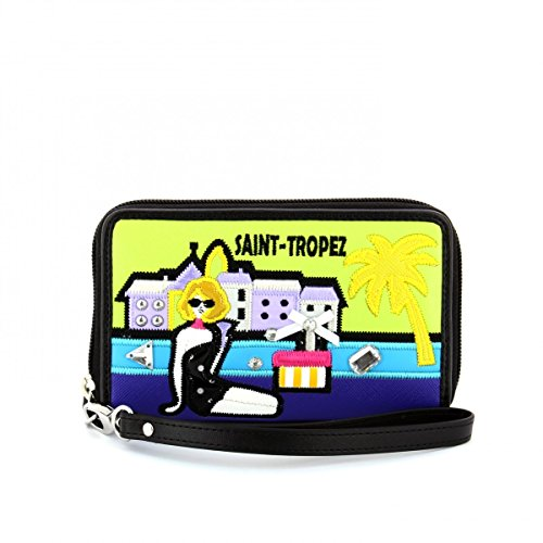 Braccialini portafoglio con zip Cartoline Saint-Tropez B10227 colore unico