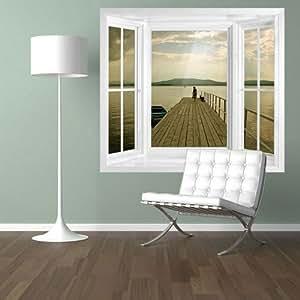illusion fenster view wand wandbild fenster view fenster rahmen wand kunst selbstklebende. Black Bedroom Furniture Sets. Home Design Ideas