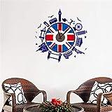ufengke Orologio da Parete Stile Britannico Adesivi Murali Costruzioni Famose Adesivi Muro per Camera da Letto Bambini Asilo Nido Casa