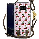 DeinDesign Samsung Galaxy S8 Plus Carry Case Hülle zum Umhängen Handyhülle mit Kette Kirschen Pattern Muster