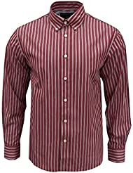 Rockport Men's Frost Striped Long Sleeve Shirt Dark Red