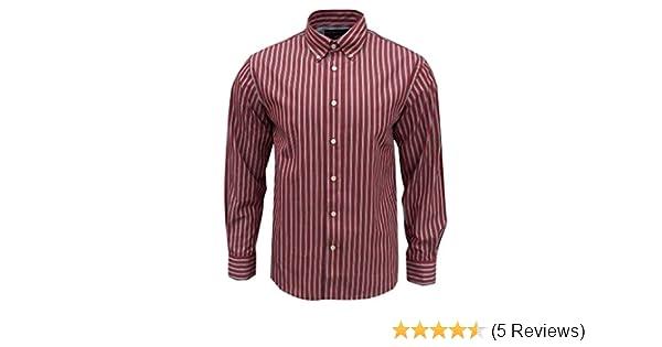 Rockport Men/'s Frost Striped Long Sleeve Shirt Dark Red