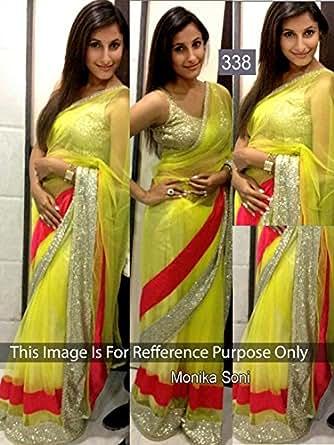I-Brand Women's Net Saree (Isunsa2109-Ib_Yellow)